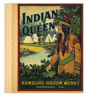 Indian Queen Brand Vintage Hamburg Pennsylvania Broom Label