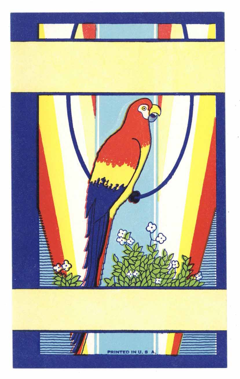 Stock Broom Label With Parrot