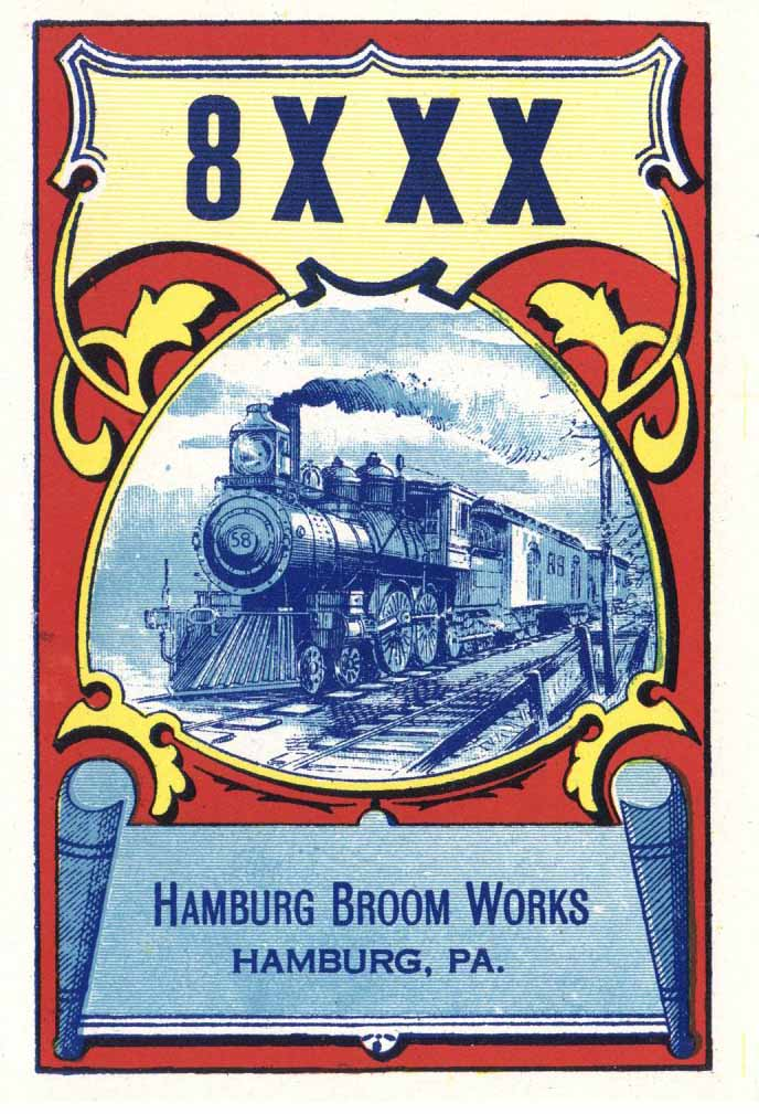 8XXX Brand Vintage Hamburg Pennsylvania Broom Label