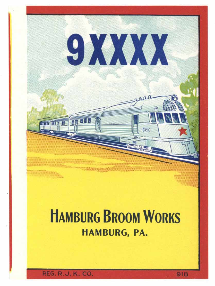 9XXXX Brand Vintage Hamburg Pennsylvania Broom Label