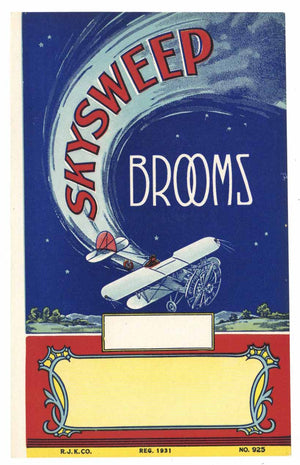 Skysweep Brand Vintage Broom Label, Biplane