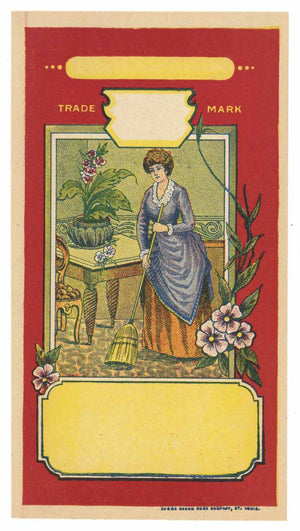 Victorian Woman Sweeping Vintage Stock Broom Label