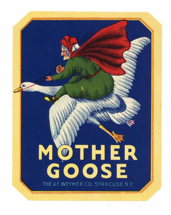 Mother Goose Brand Vintage Syracuse New York Broom Label