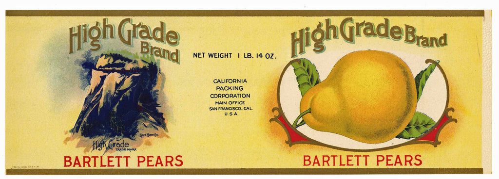 High Grade Brand Vintage Pear Can Label