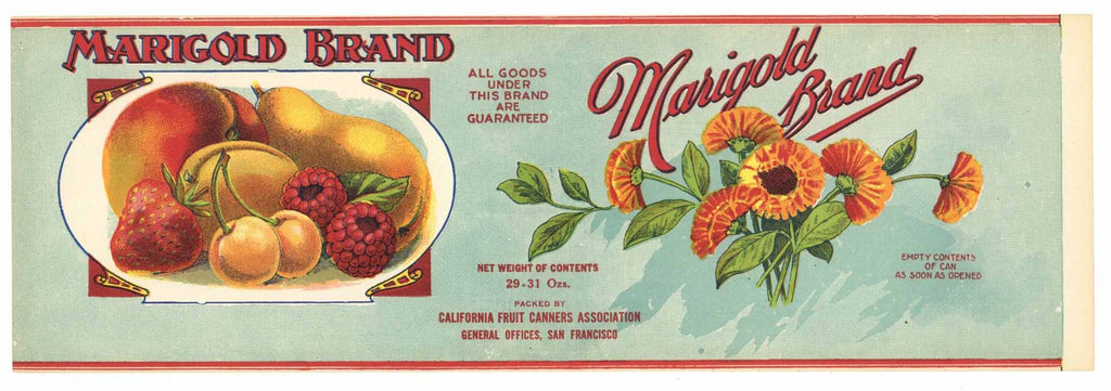 Marigold Brand Vintage Fruit Can Label, Mixed Fruit