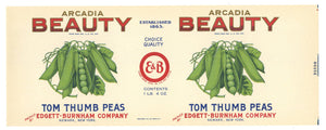 Arcadia Beauty Brand Vintage Tom Thumb Peas Can Label