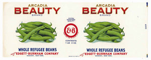 Arcadia Beauty Brand Vintage Whole Refugee Beans Can Label