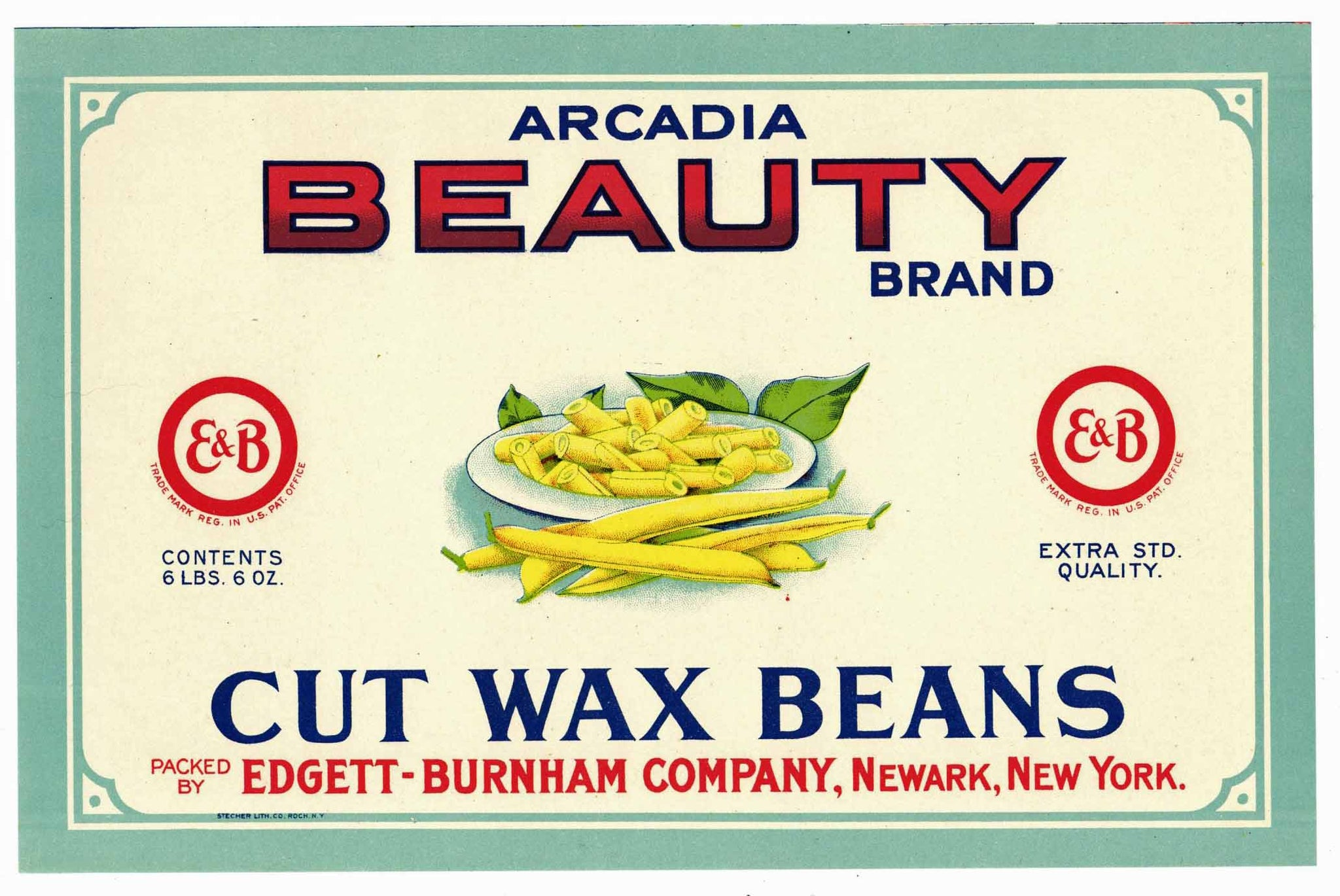 Arcadia Beauty Brand Vintage Cut Wax Beans Can Label, sq