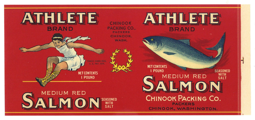Athlete Brand Vintage Chinook Washington Salmon Can Label