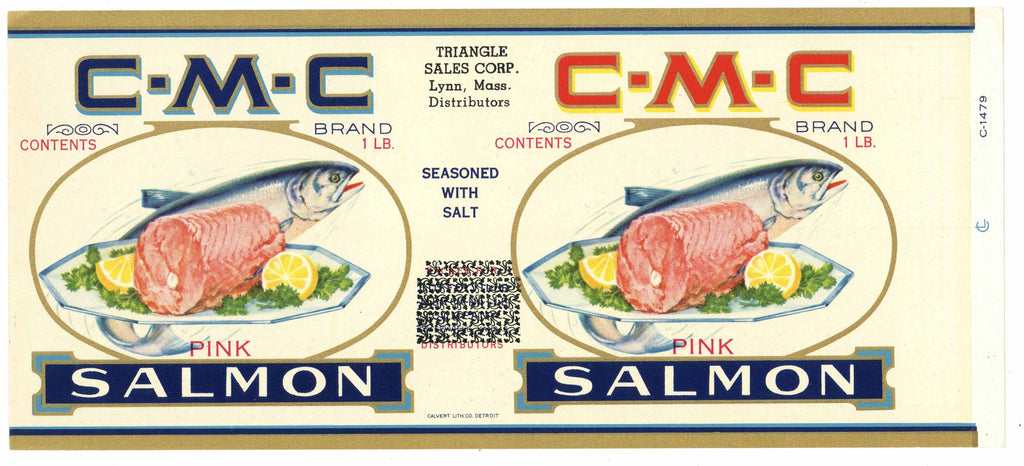 C-M-C Brand Vintage Salmon Can Label