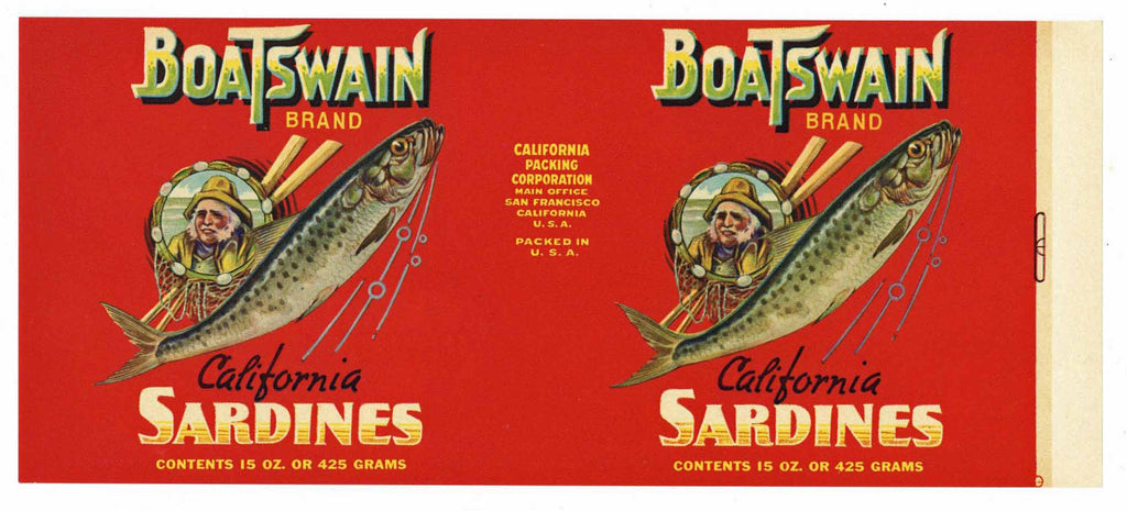 Boatswain Brand Vintage Sardine Can Label