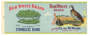 BOB WHITE Brand Vintage Bean Can Label (CAN0209)