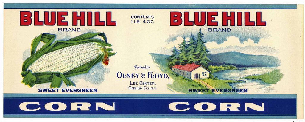 Blue Hill Brand Vintage New York Corn Can Label