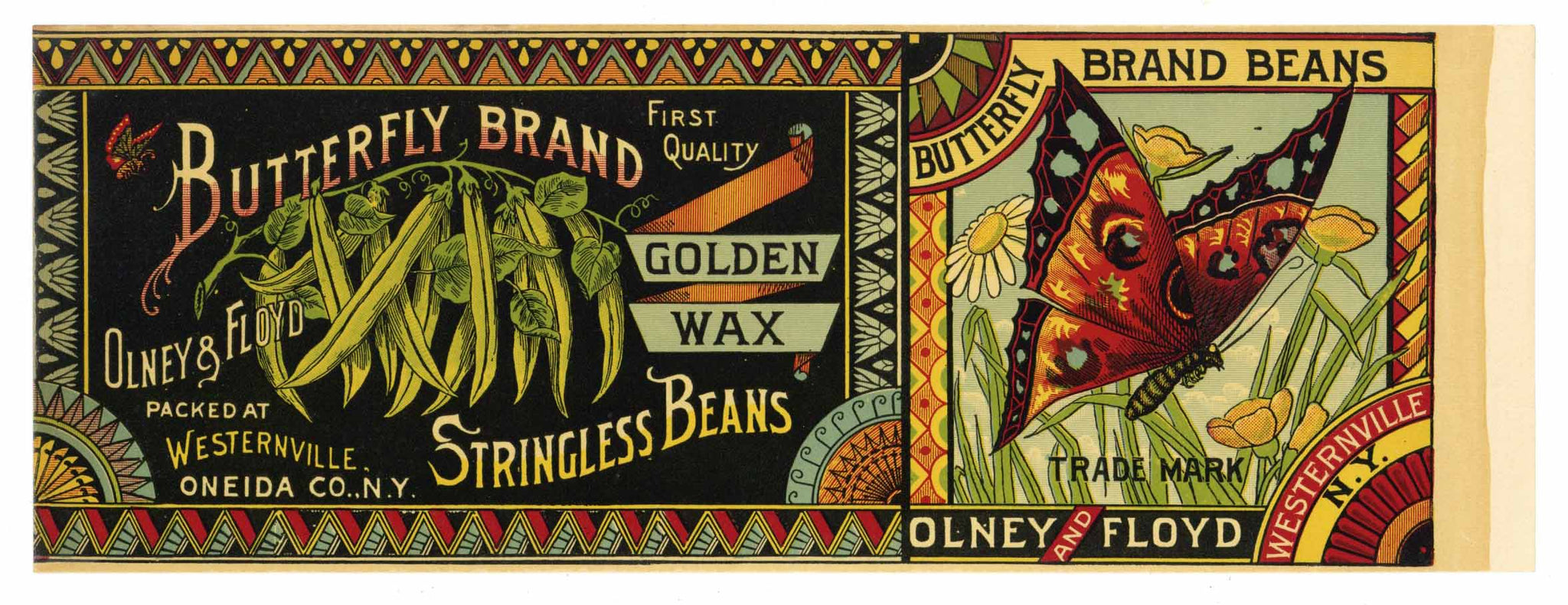 BUTTERFLY Brand Vintage Bean Can Label (CAN0220)
