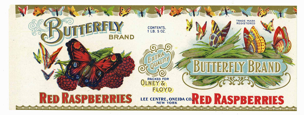 Butterfly Brand Vintage New York Raspberry Can Label
