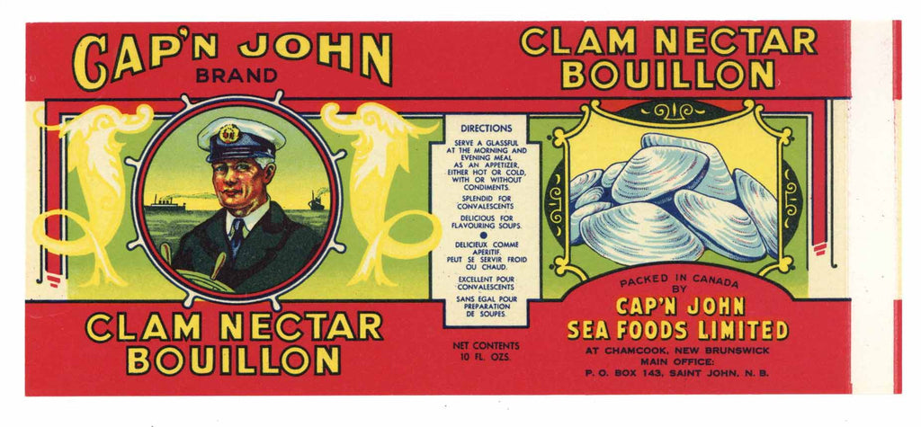 Cap'n John Brand Vintage Canadian Clam Bouillon Can Label