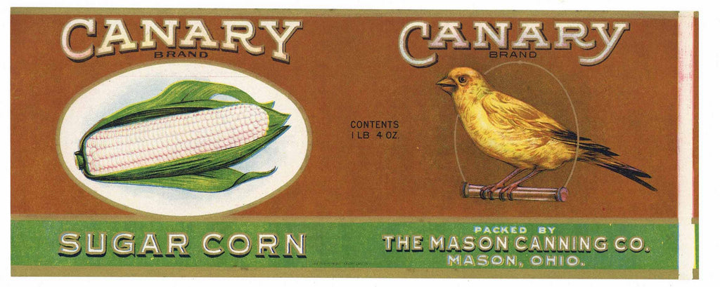 Canary Brand Vintage Ohio Corn Can Label