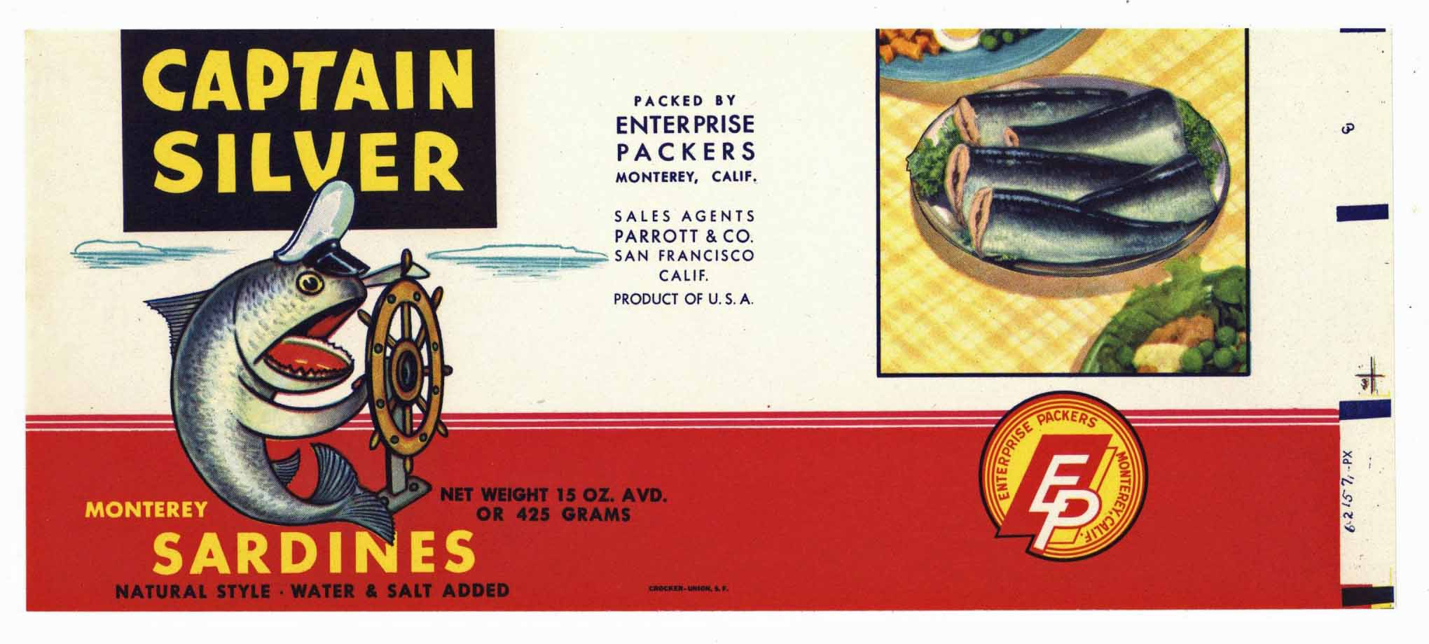 CAPTAIN SILVER Brand Vintage Sardine Can Label (CAN0228)