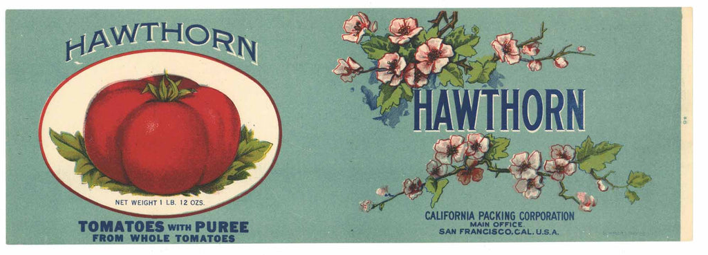 Hawthorn Brand Vintage Tomato Can Label
