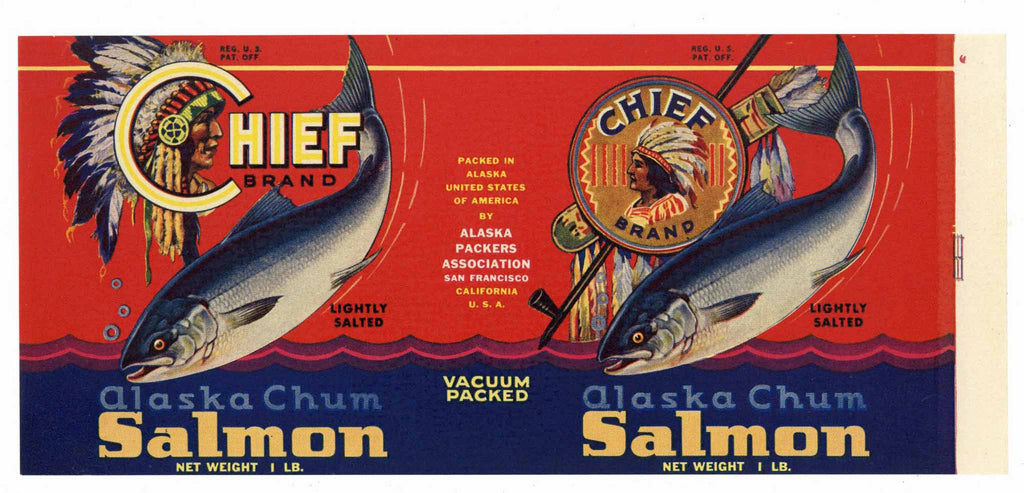 Chief Brand Vintage Alaska Packers Salmon Can Label, n
