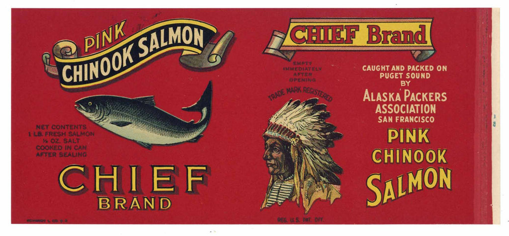 Chief Brand Vintage Alaska Packers Salmon Can Label, o