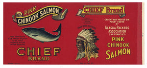 CHIEF Brand Vintage Salmon Can Label, o (CAN0231)