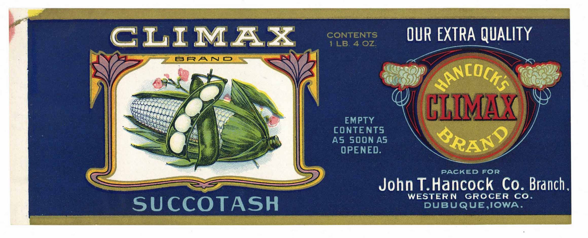 CLIMAX Brand Vintage Succotash Can Label (CAN0235)