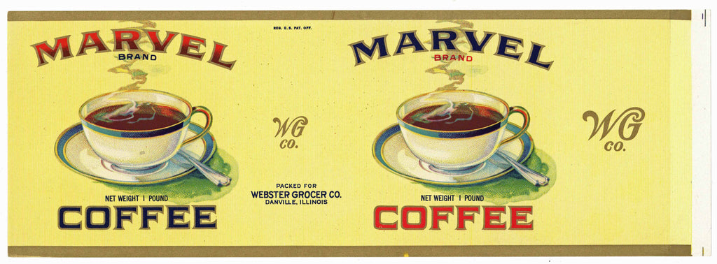 Marvel Brand Vintage Danville Illinois Coffee Can Label