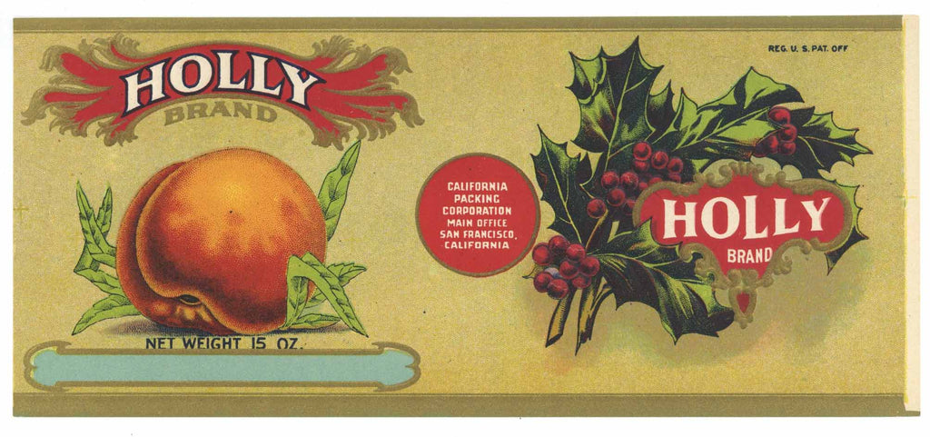 Holly Brand Vintage Peach Can Label