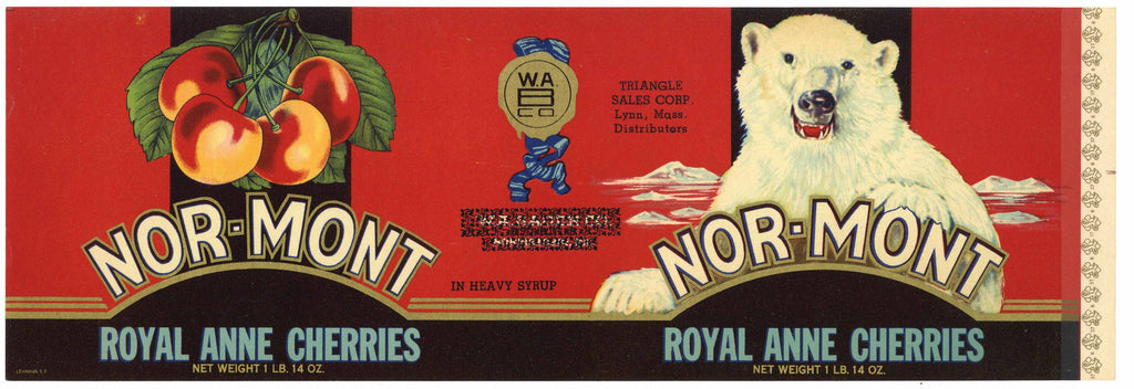Nor-Mont Brand Vintage Cherry Can Label