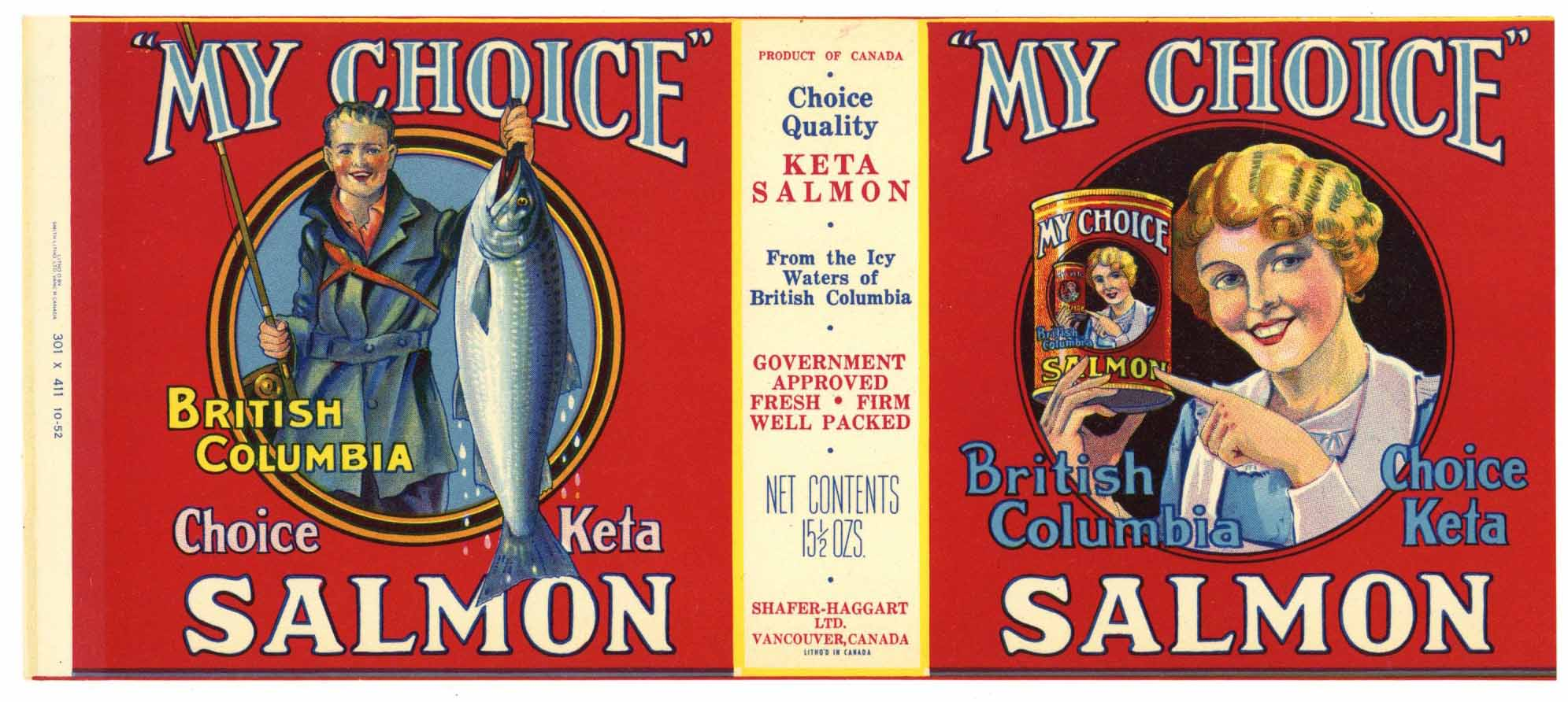 My Choice Brand Vintage Vancouver Canada Salmon Can Label, red