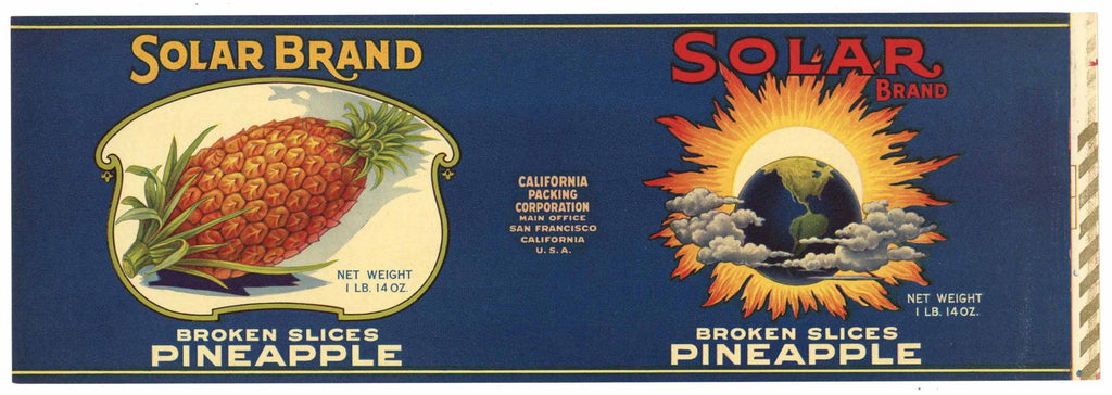 Solar Brand Vintage Pineapple Can Label