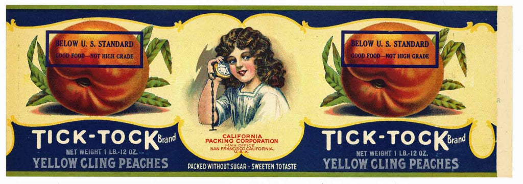 Tick Tock Brand Vintage Peach Can Label
