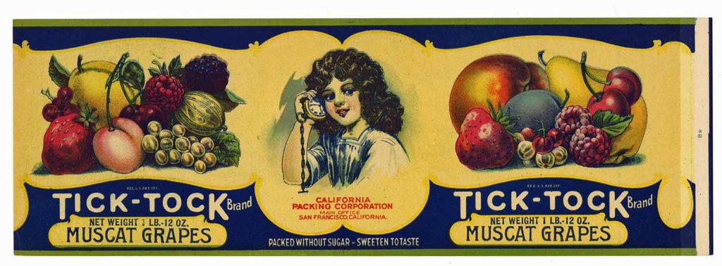 Tick Tock Brand Vintage Grape Can Label
