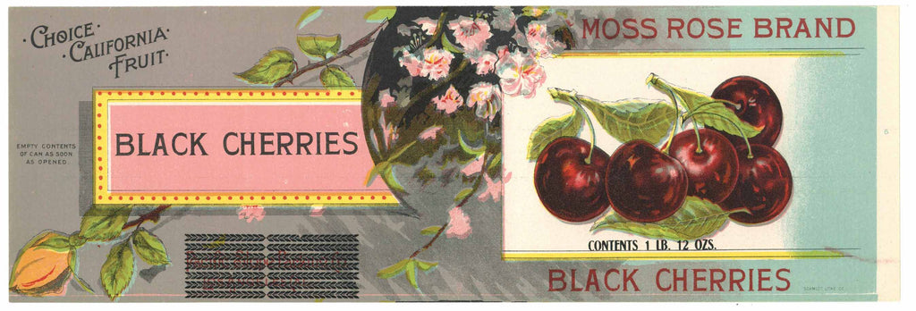 Moss Rose Brand Vintage Cherry Can Label