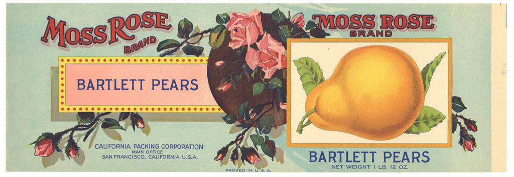 Moss Rose Brand Vintage Pear Can Label