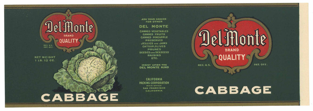 Del Monte  Brand Vintage Cabbage Can Label, L