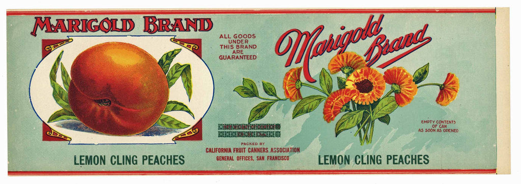 Marigold Brand Vintage Peach Can Label