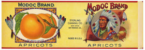 Modoc Brand Vintage Apricot Can Label