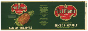 Del Monte  Brand Vintage Sliced Pineapple Can Label