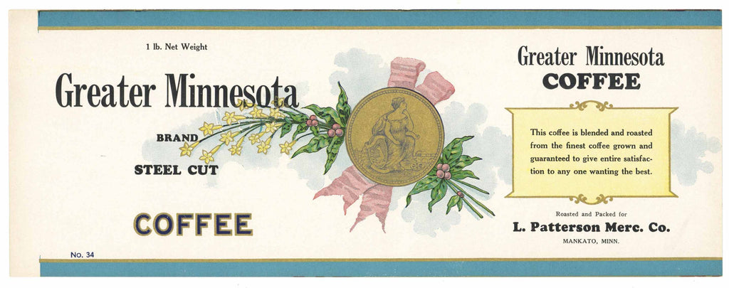 Greater Minnesota Brand Vintage Mankato Coffee Can Label