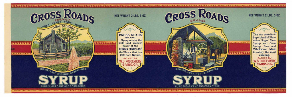 Cross Roads Brand Vintage Georgia Cane Syrup Can Label
