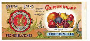 Griffon Brand Vintage Mixed Fruit Can Label