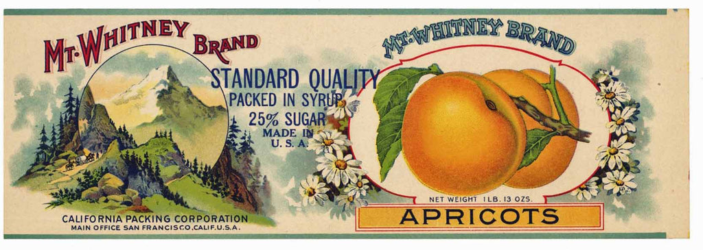 Mt. Whitney Brand Vintage Apricot Can Label
