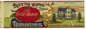 Defy The World Brand Vintage New Jersey Tomato Can Label, L