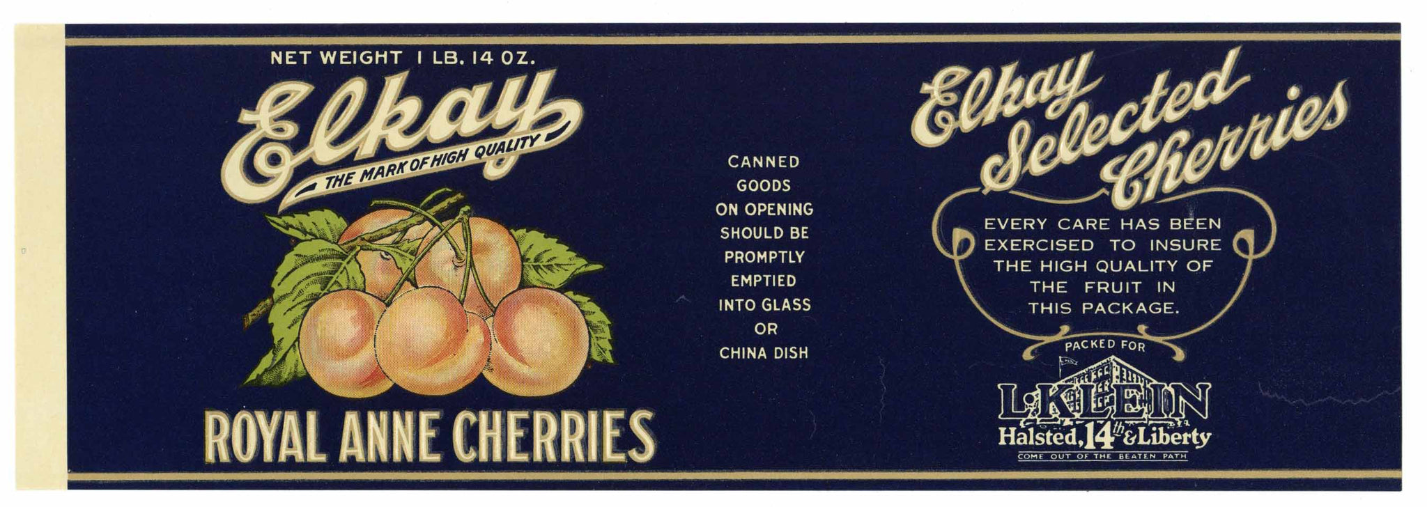 Elkay Brand Vintage Cherry Can Label, L