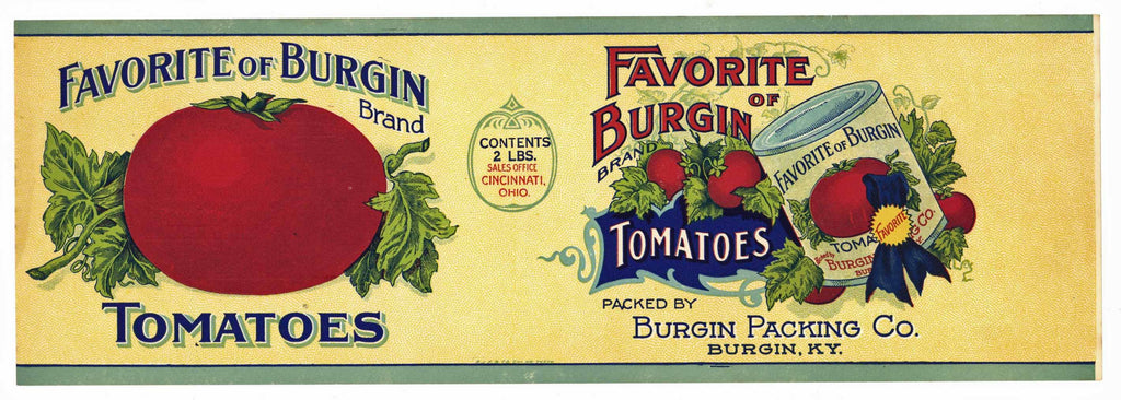 Favorite Of Burgin Brand Vintage Kentucky Tomato Can Label