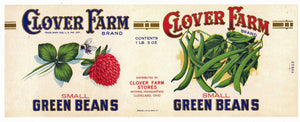 Clover Farm Brand Vintage Ohio Green Beans Can Label