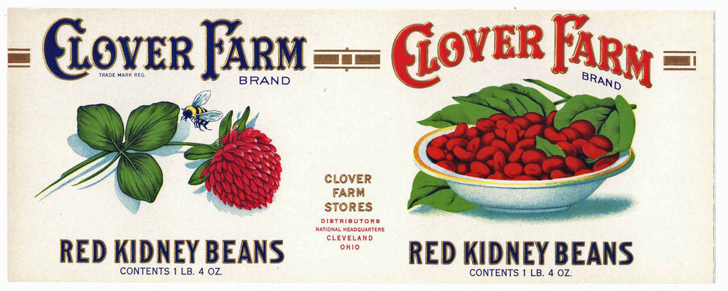 Clover Farm Brand Vintage Ohio Red Kidney Beans Can Label