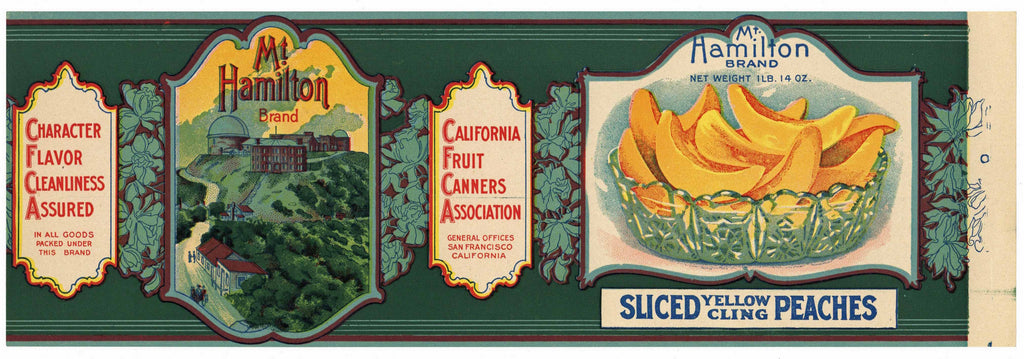 Mt. Hamilton Brand Vintage Sliced Peaches Can Label